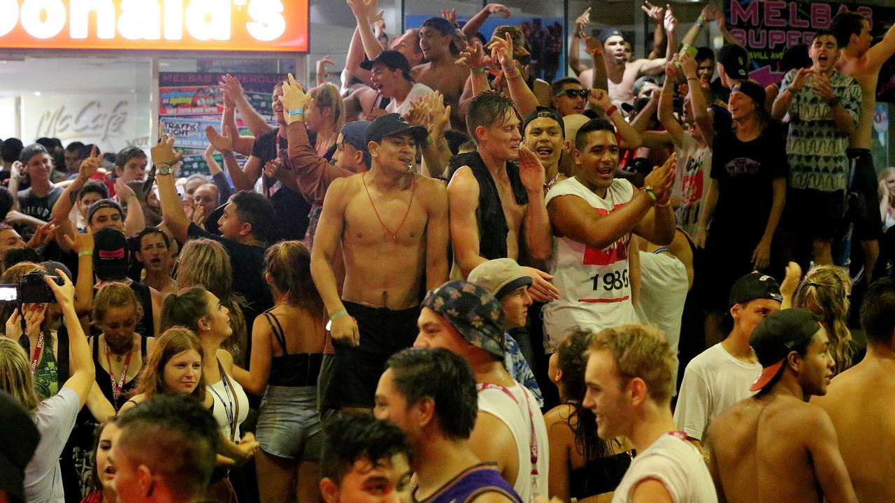 Schoolies celebrations take over the streets of Surfers Paradise on Friday. Picture: Glenn Hampson