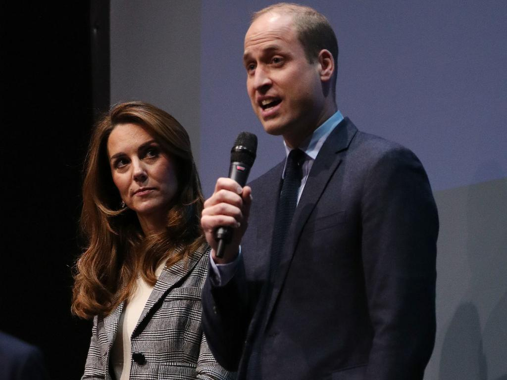 Prince William, Duke of Cambridge gives a speech next to Catherine, Duchess of Cambridge as they attend Shout's Crisis Volunteer celebration event. Picture: Getty Images