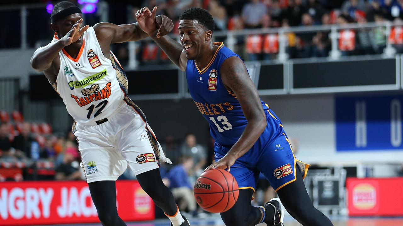 The battle between the Brisbane Bullets and Cairns Taipans is always a hotly contested one. Picture: Jono Searle/Getty Images