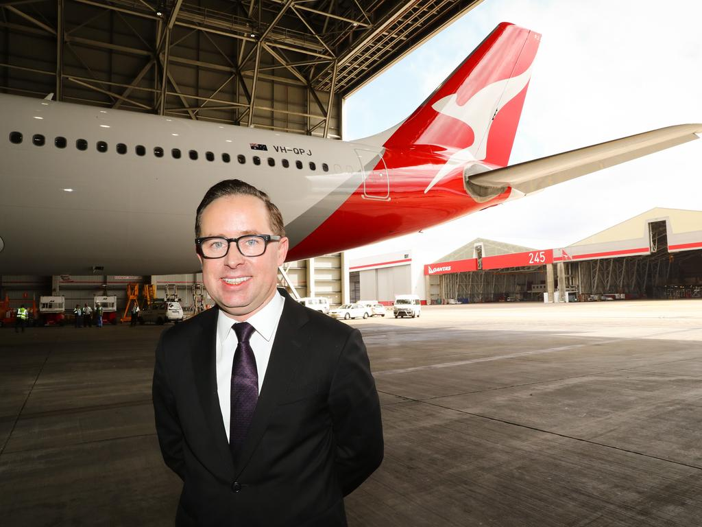 Qantas CEO Alan Joyce said handles could even be included to get some chin ups in on flights. Picture: Renee Nowytarger / The Australian
