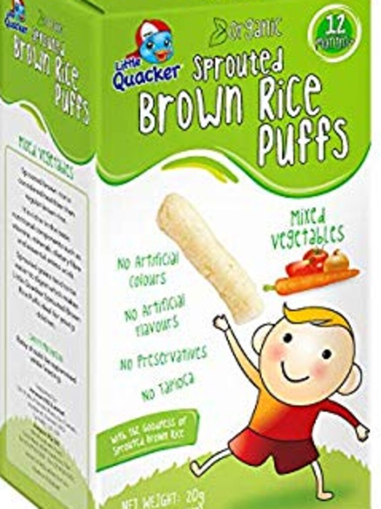 Little Quacker Sprouted Brown Rice Puffs are high in sugar.