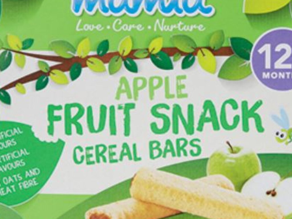 These Apple Fruit Snack bars from Aldi are high in sugar.
