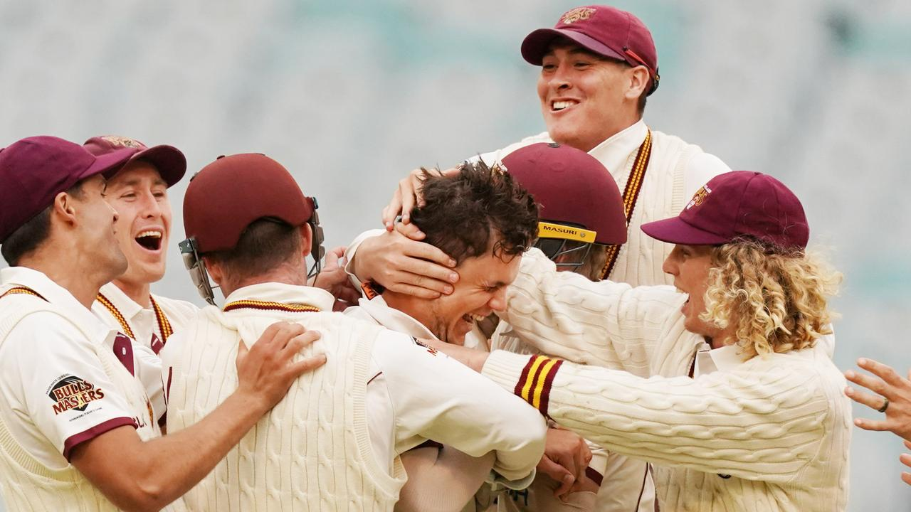 Queensland spinner Mitch Swepson took a hat-trick against Victoria at the MCG. Picture: AAP