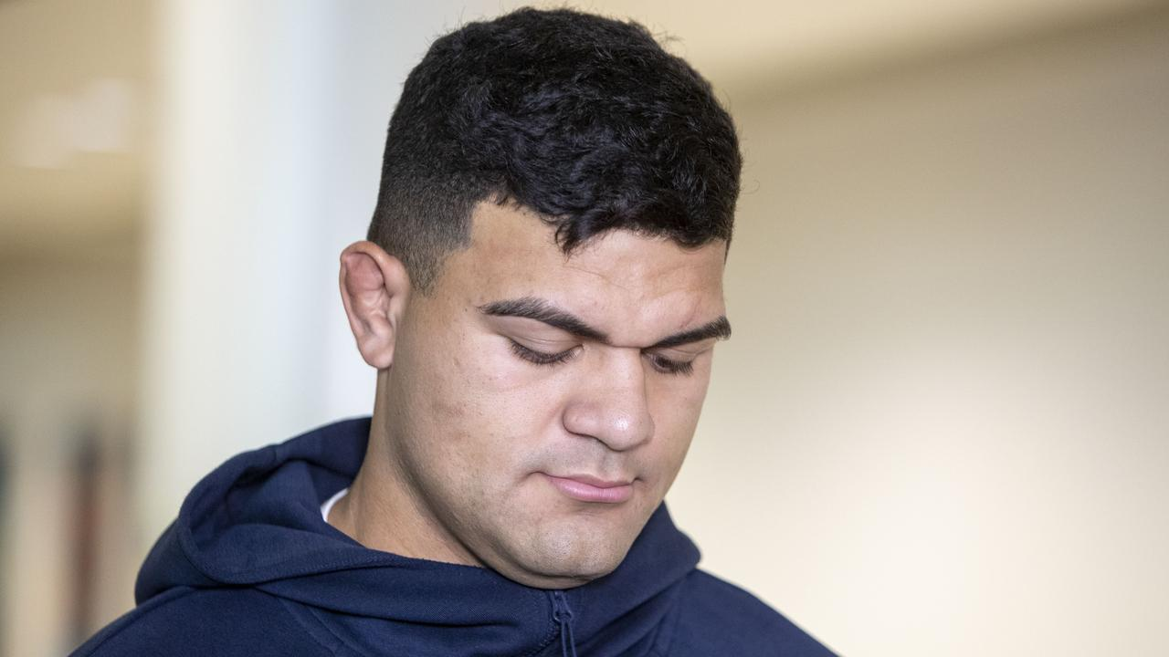 David Fifita arrives at the Brisbane International Airport on Tuesday morning.