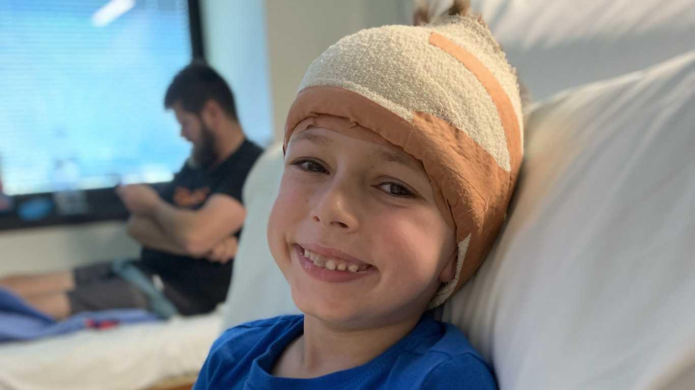 BRAVE BOY: Six-year-old Mitchell Abdy at the Children's Hospital in Brisbane