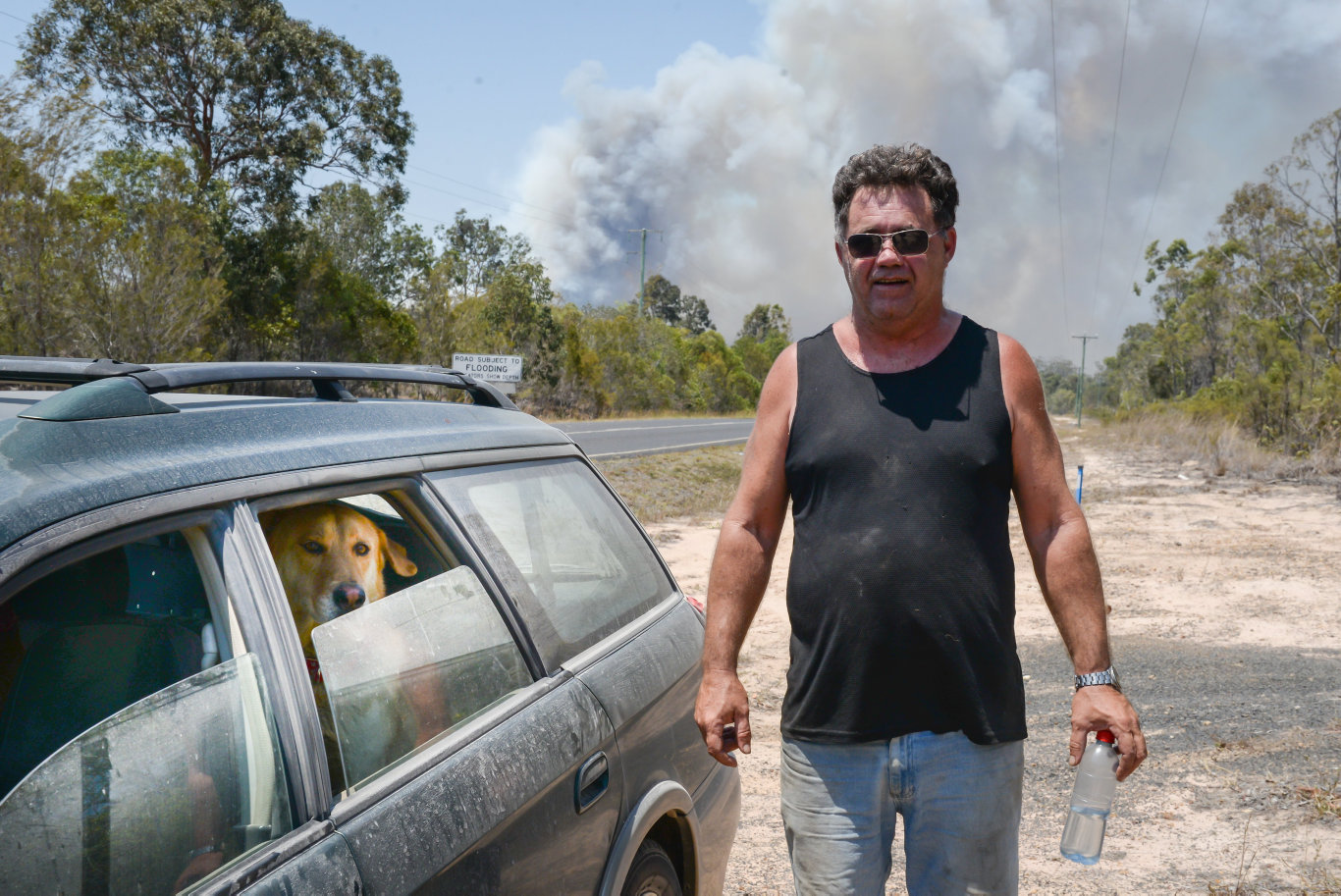 David Grant left his camp site as soon as he saw thick black smoke approaching.
