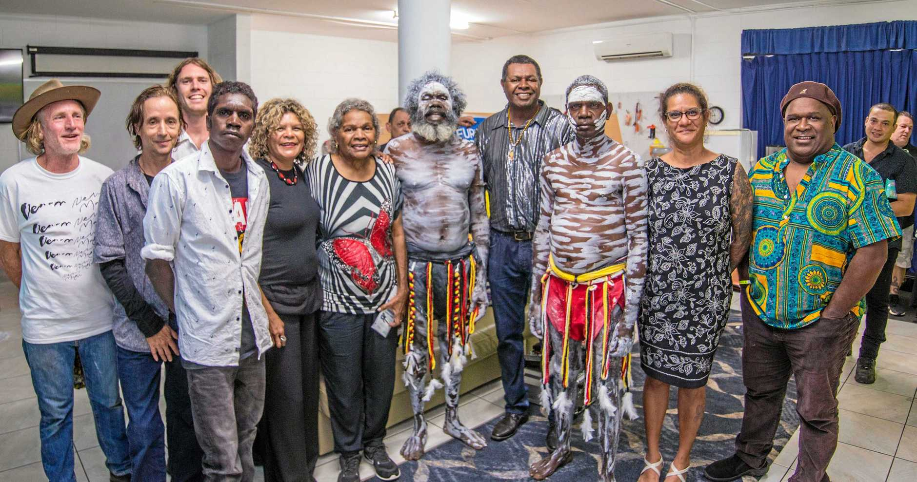 SPECIAL MOMENT: Esther Gabey (sixth from left), Leo Gabey (fourth from right) and Melanie Murry (second from right) meeting Yothu Yindi backstage at the 2019 Airlie Beach Festival of Music.