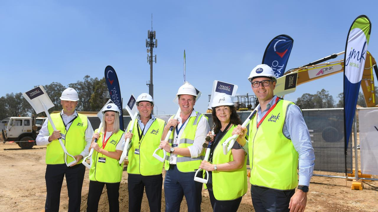 Sod turning of the Yamanto Central Shopping Centre. DMA Partners managing director Ryan Anderson, Chey Mesh from Coles, JM Kelly Group director Jim Kelly, Main Brace Constructions managing director Rob Doust, JMK Retail general manager Vicki Leavy and Property (Kmart) general manager Ben Smith.