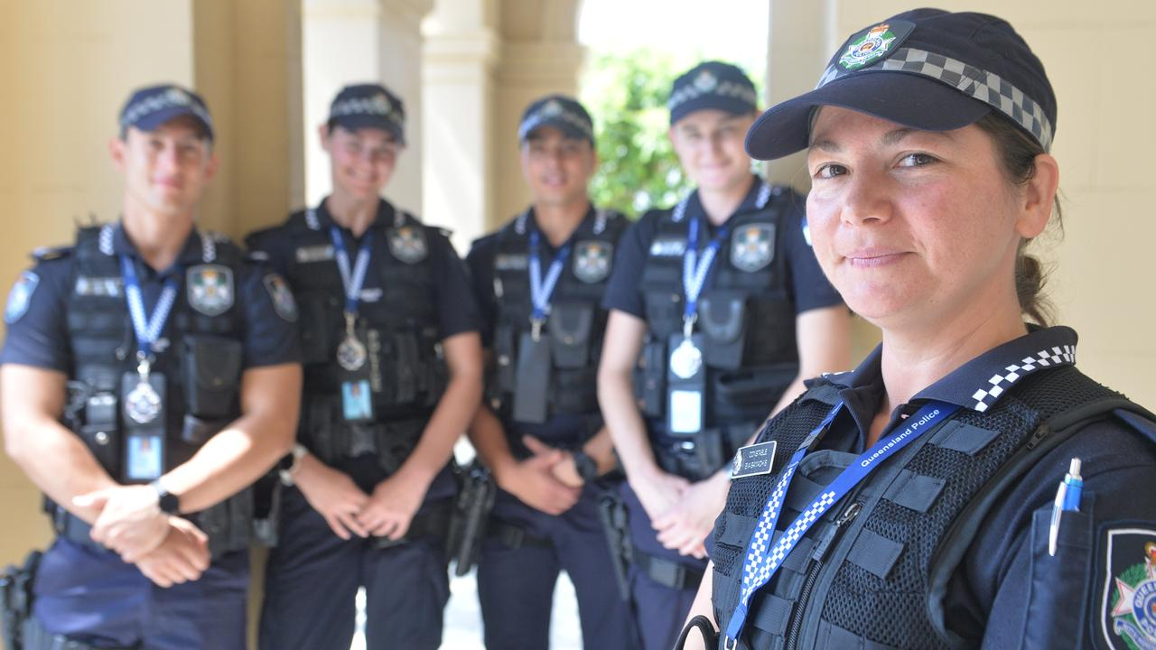 First year constable Eva Samachis, front, with Gabriel Moran, Emma Walsh, Michael Furst and Anna McMillan at Mackay Police Station in Brisbane St.