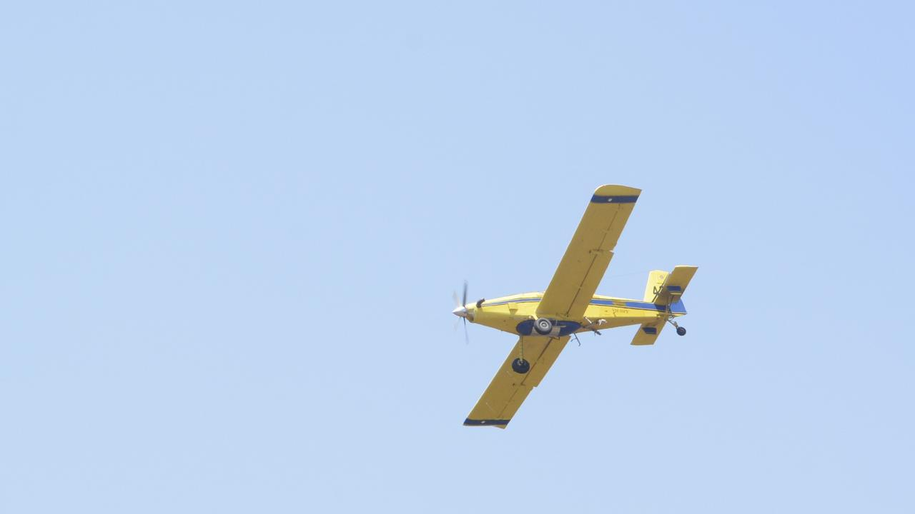 Fixed-wing water-bombers are just some of the tools in the arsenal deployed to battle bushfires in the Darling Downs. Picture: Michael Nolan