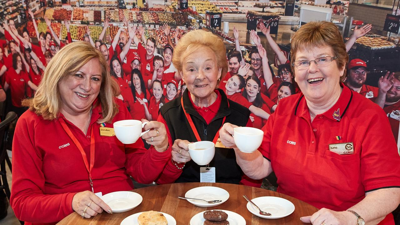 Deidre Bright, Angela Hannigan and June Groves have bonded over their years of service at Coles stores around Australia. Picture: Coles