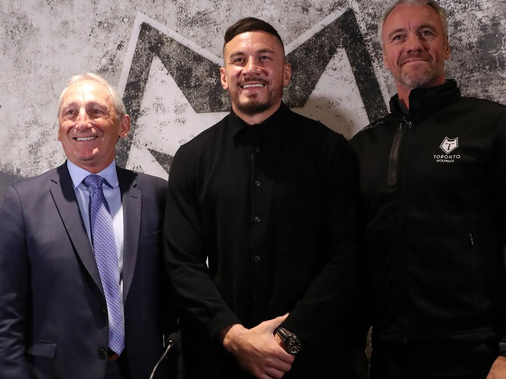 (L-R) Bob Hunter, CEO of Toronto Wolfpack, Sonny Bill Williams and Brian McDermott, Head Coach of Toronto Wolfpack. Picture: Getty