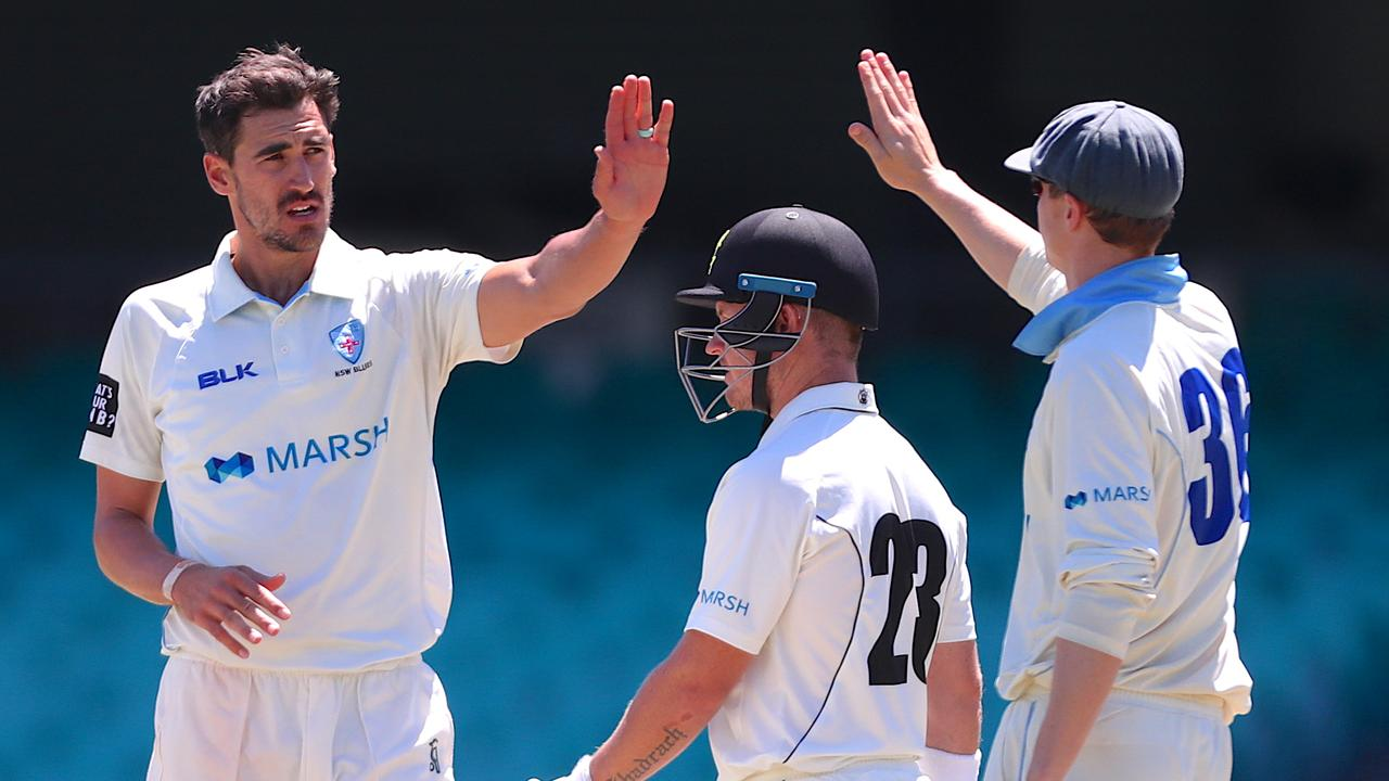 PACEMAN: Mitchell Starc (left) during a Sheffield Shield match between New South Wales and Western Australia at the SCG. Picture: David Gray/AAP