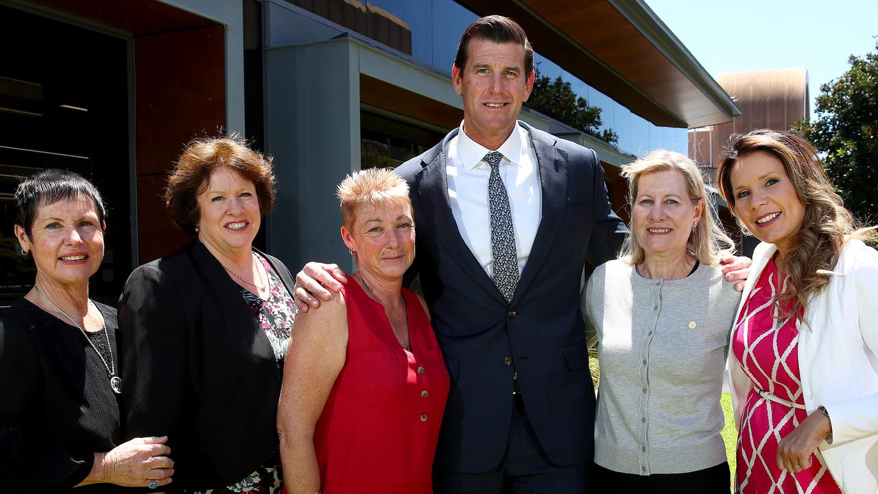At The Daily Telegraph's Save Our Heroes summit: Mr Roberts-Smith with the mothers of young veterans who have taken their own life since serving for our country Glenda Weston (l to r), Colleen Pillen, Jan Hewitt, Julie-Ann Finney and Nikki Jamieson. Picture: Toby Zerna