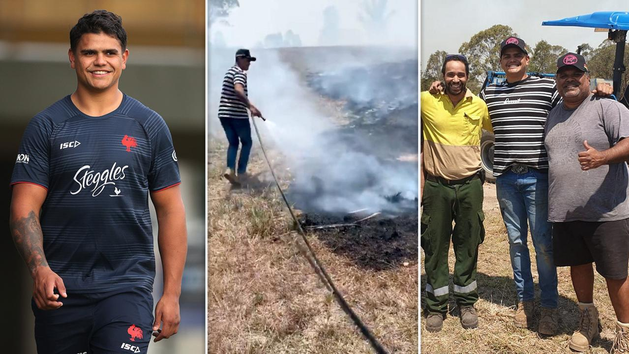 Latrell Mitchell has been helping the firefighting cause in Taree.