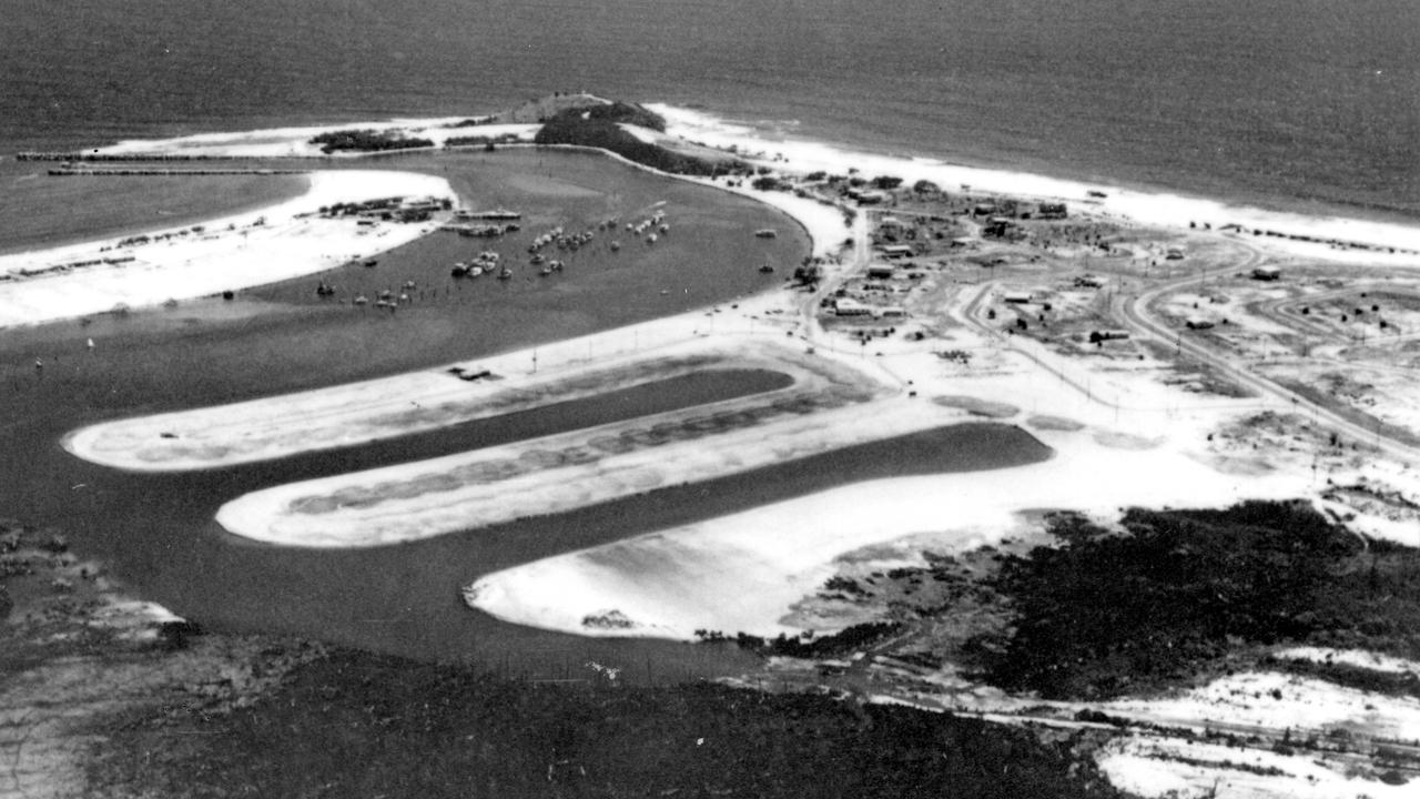 An aerial photograph showing canal development on the Mooloolah River at Buddina, ca 1969. Picture: Contributed