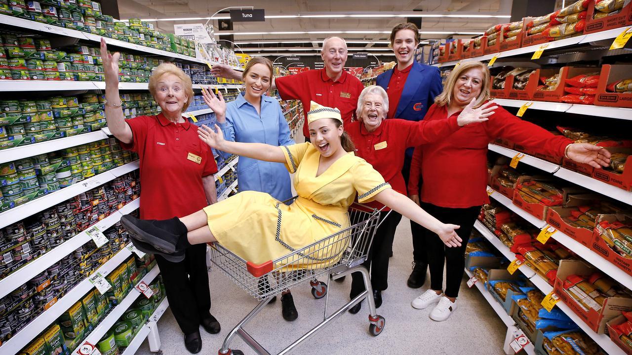 Coles 50 plus team members love sharing advice with newbies. Angela Hannigan, 82, Janet Novak, 22, Georgia Cooper, 21, Graeme Beswick, 68, Brenda Palmer, 87, Jesse Lee, 18, and Deidre Bright, 67. Picture: David Caird