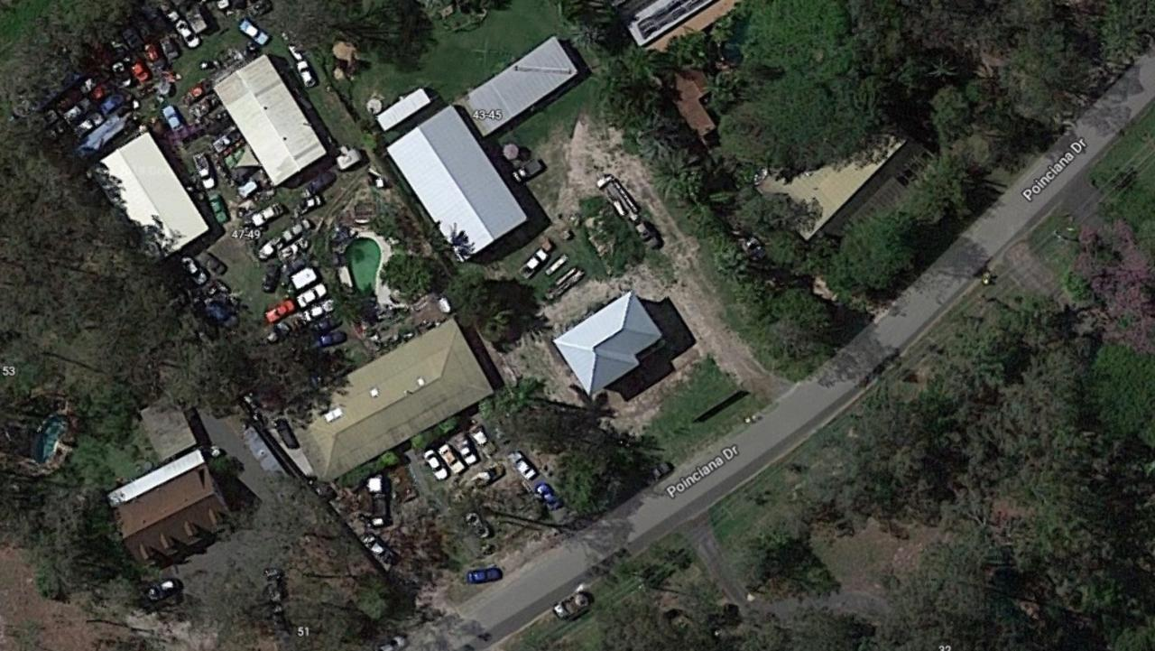 An aerial view of the property before Mr Weston was forced to remove the 115 cars on the block. PHOTO: GOOGLE