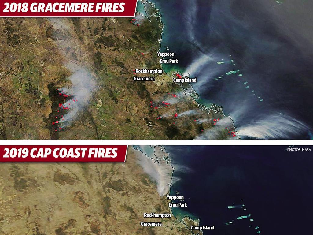 NASA comparison of bushfires.