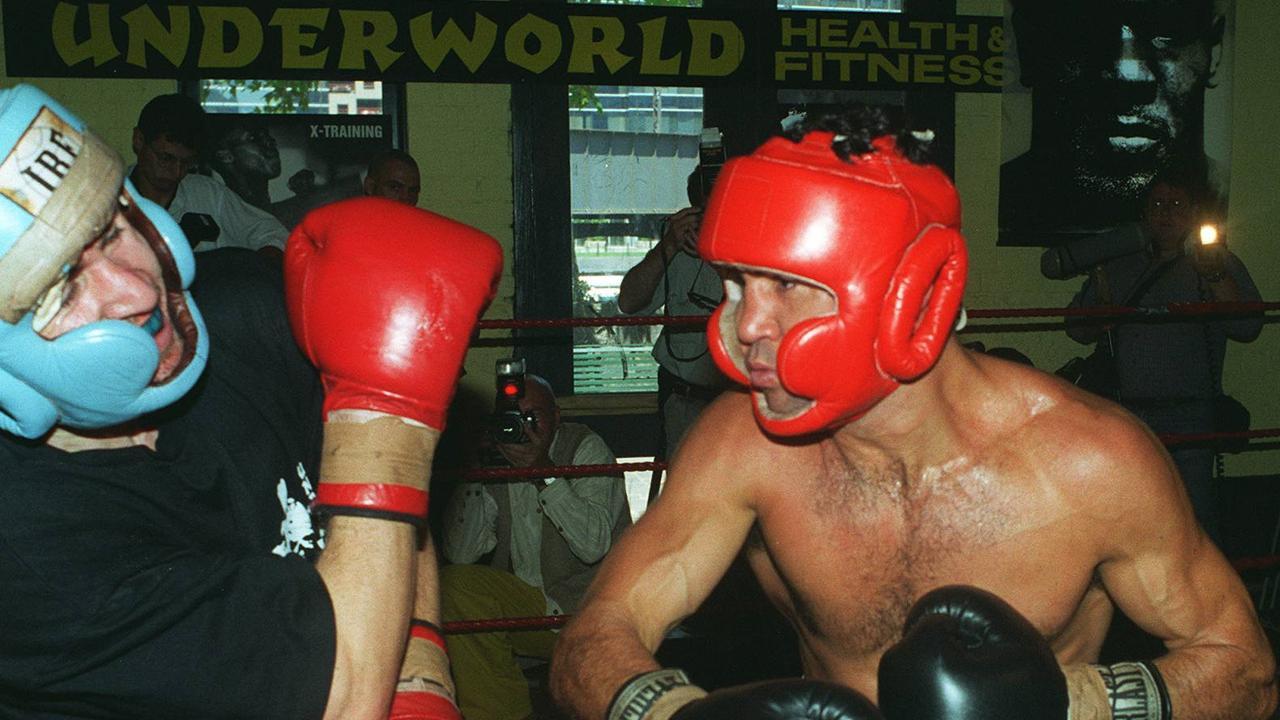 Jeff Fenech sparring Darren Miller in 1996.