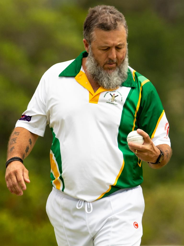 Gympie Regional Cricket Association - Wests v Harlequins - Wests bowler Wayne Sleeman.