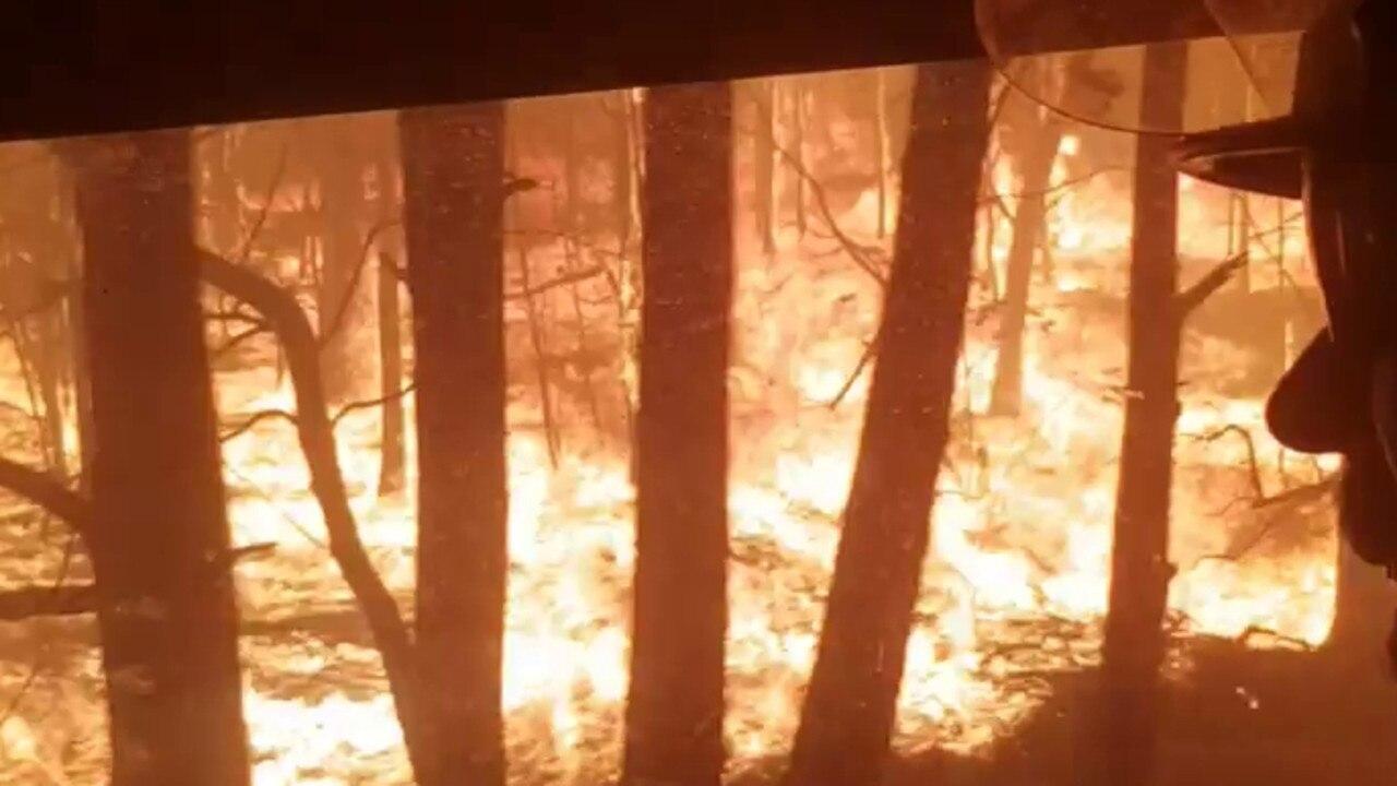 Brett Miller driving through the firestorm. Picture: Supplied