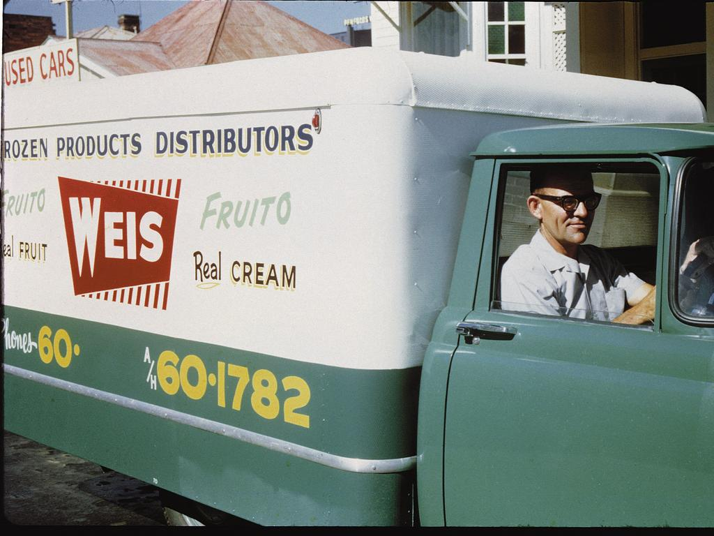 Weis refrigerated truck making deliveries in Queensland circa 1960.
