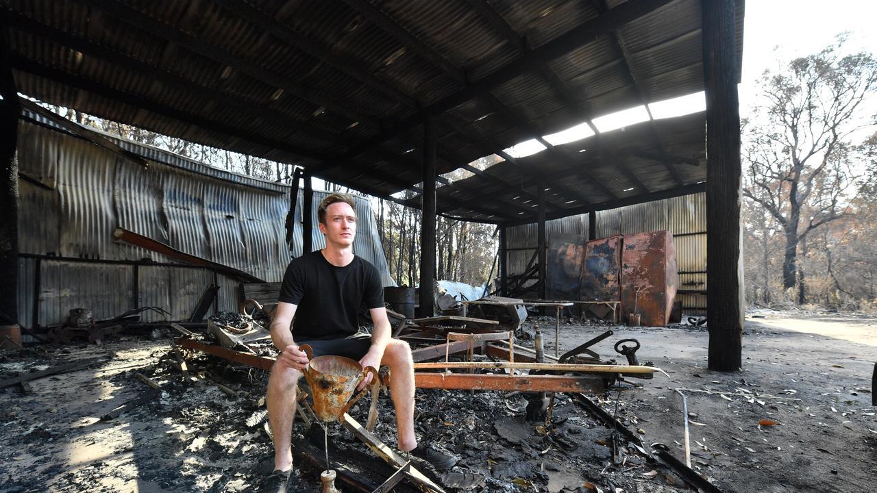 DEVASTATING: Jayden Peterson at his shed in Cooroibah. Photo: John McCutcheon/Sunshine Coast Daily