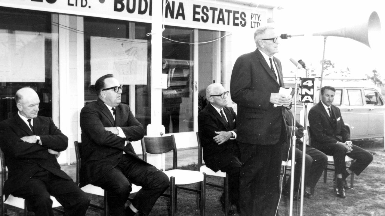 Queensland premier Frank Nicklin addresses guests at a Kawana Estates ceremony at Buddina, ca 1967. Picture: Contributed