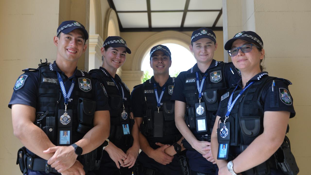 First year constables Gabriel Moran, Emma Walsh, Michael Furst, Anna McMillan and Eva Samachis at the Mackay Police Station, Brisbane St.