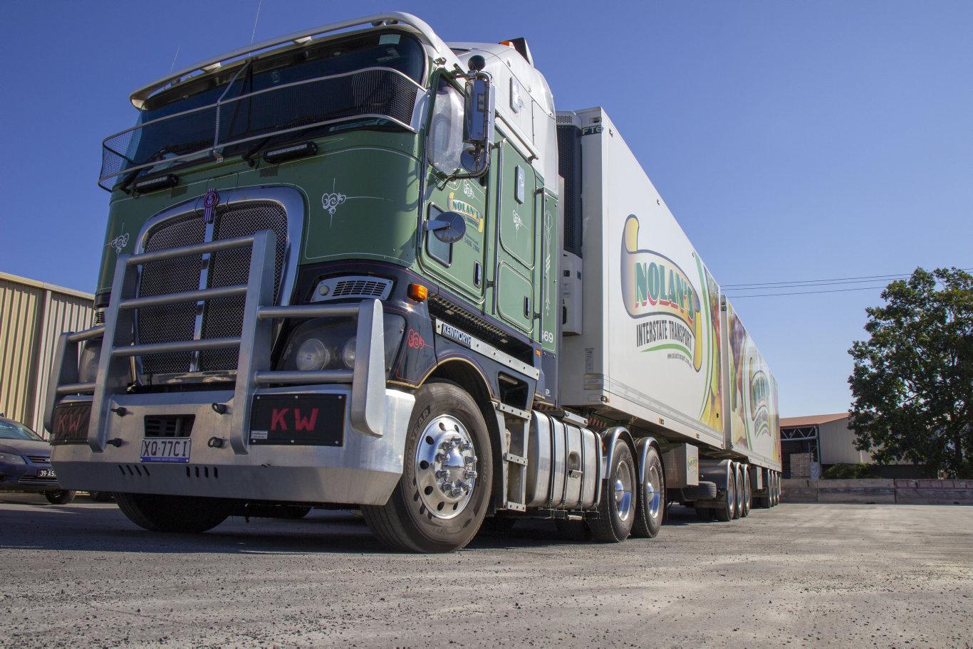 Trucks at the Nolan Interstate Transport depot in Gatton, Queensland.