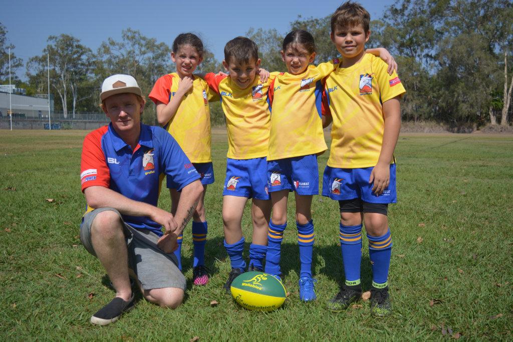 Coach Matt Neill with Bonnie Woods, Hunter Neill, Zaylan McGrath and Lyn-Eve Woods