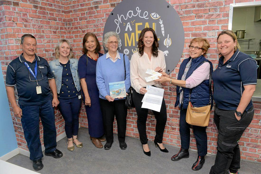 ART OF GIVING: At the cheque presentation by Central Coast Potters Society to Coast Shelter are Charles Boyton, Jemma Wilson, Charo Sparkes, Carole Saint, Rachel Willis, Ingrid Tristram and Joanne Christie. Now CCPS is gearing up for its Sale of Ceramics - Christmas 2019.