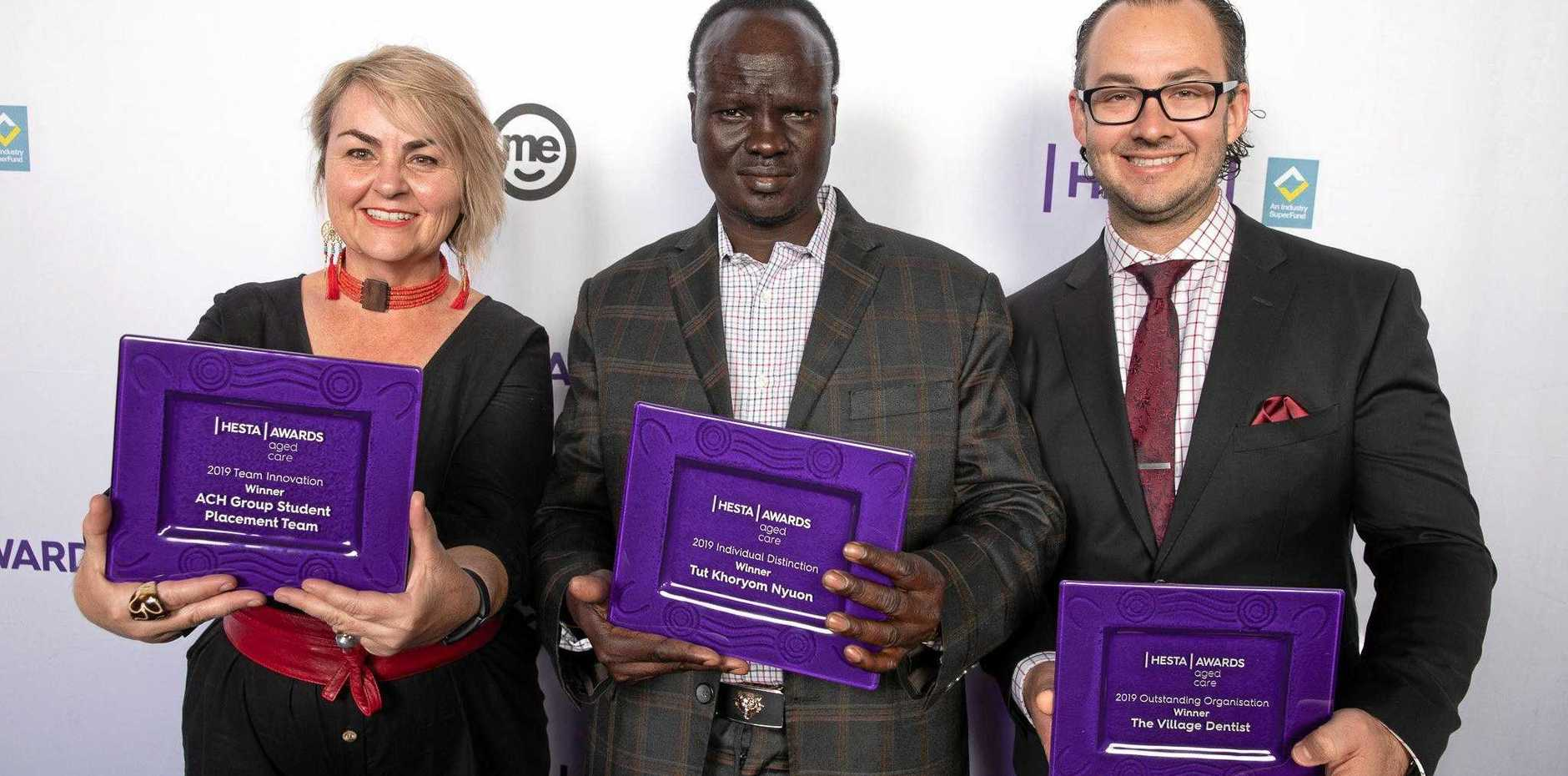 HESTA AGED CARE AWARD WINNERS: Samantha Manoe (ACH Group Manager of the Student Placement Team), Tut Khoryom Nyuon (Personal Care Assistant, Fronditha Care), Oliver Cvekus (Director of The Village Dentist).