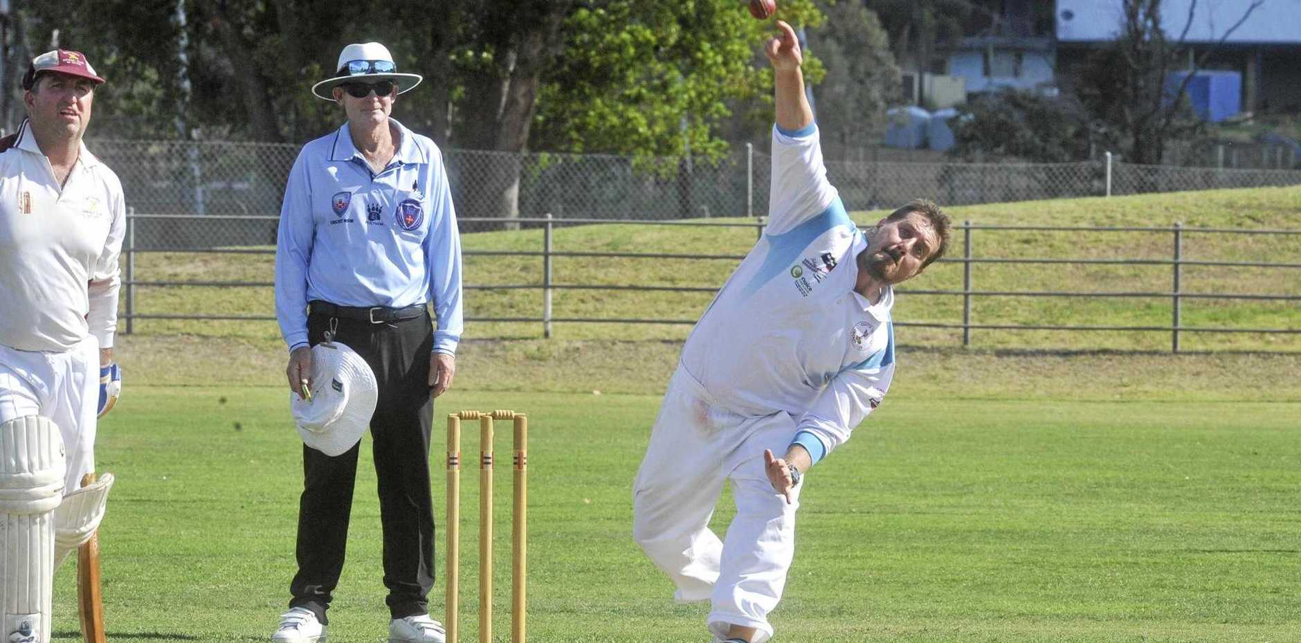BIG SPIN: Coutts' seamer Andrew Buchanan in the round 2 GDSC Premier League clash between Coutts Crossing and Brothers at McKittrick Park  last Saturday.