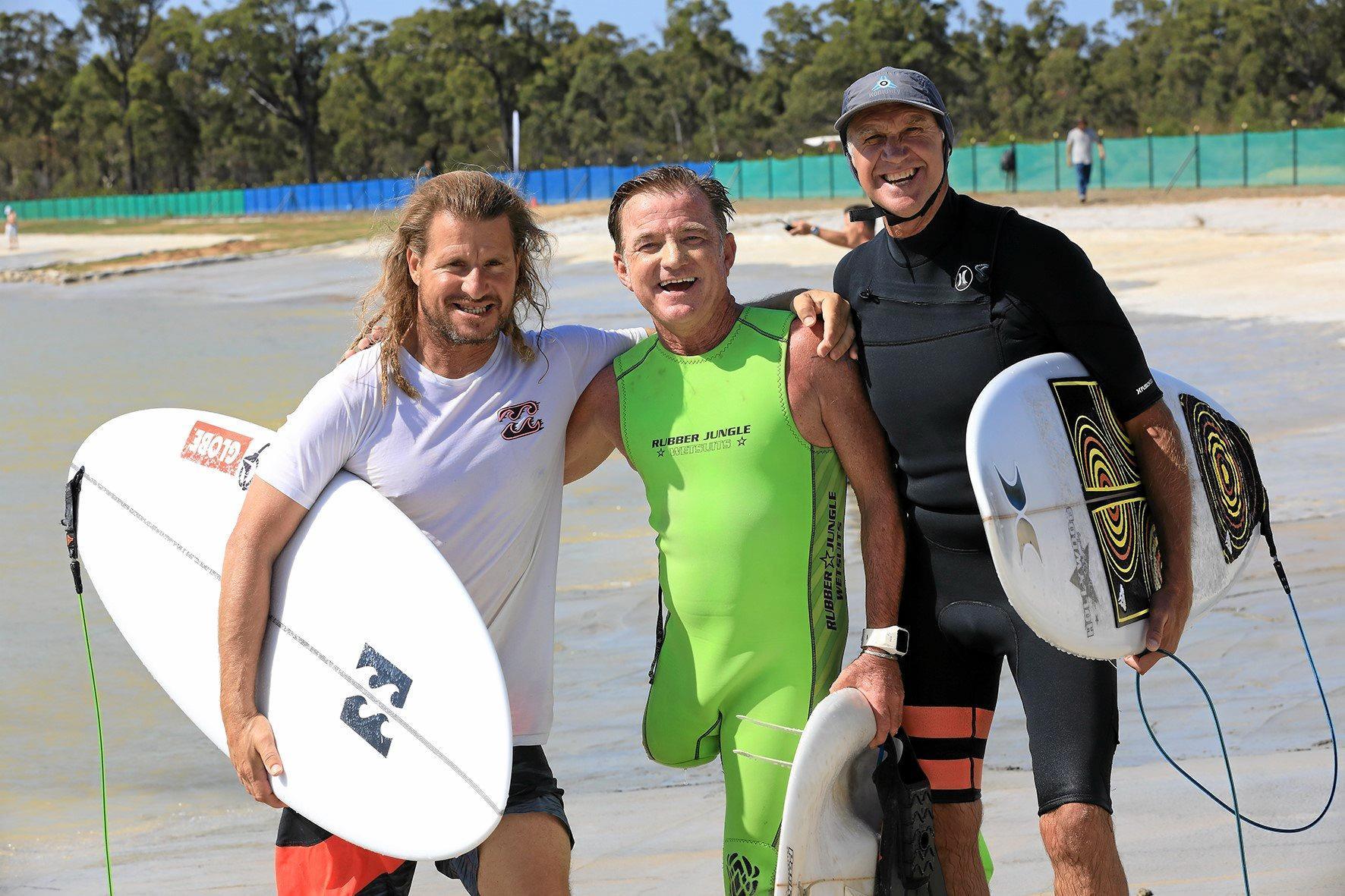 STOKED: Mark Occilupo, Mark 'Mono' Stewart and Barton Lynch at the 5 Waves Surf Lake facility in Yepoon.