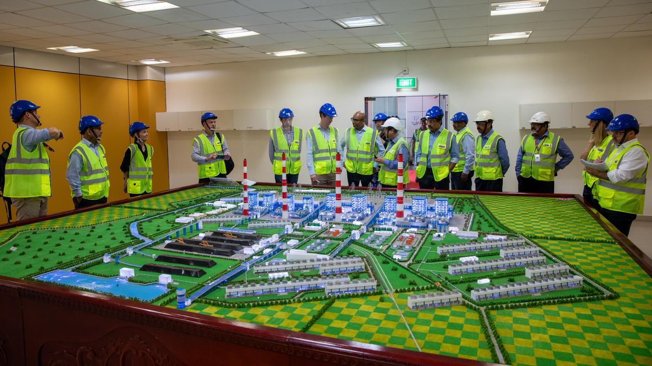 Adani executives host Australian media at Adani Power Ltd's 4620MW Mundra plant. Picture: Cameron Laird