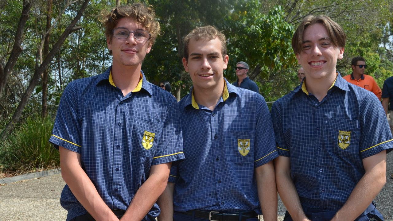 SCHOOL'S OUT: Immanuel Lutheran College Year 12 students; Lorenzo Ferrari, Josh Sharp and Julian Craik celebrate their last day of school with a Walk of Faith.