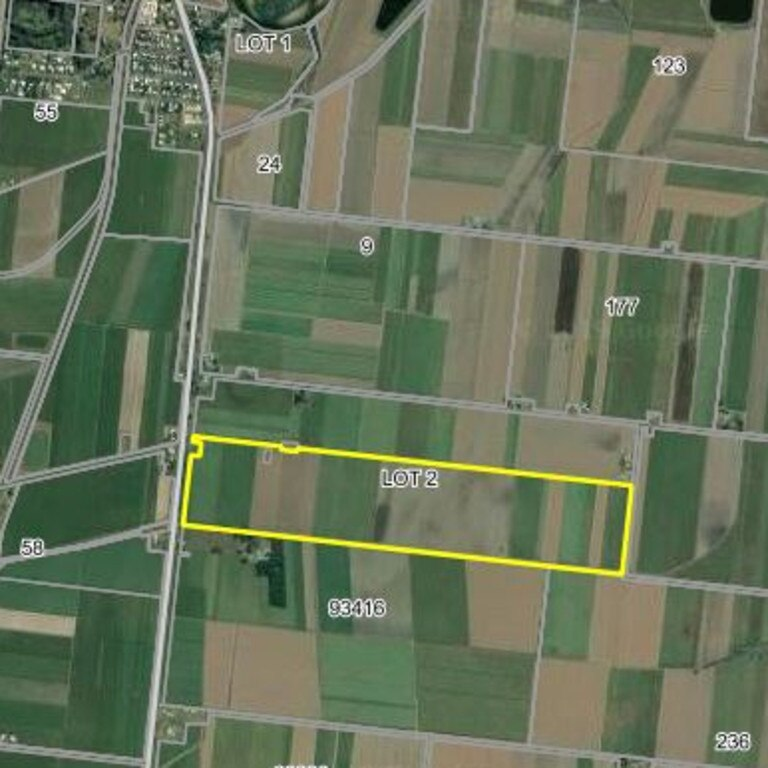 Outlined in yellow are the blocks of land purchased at Rosella, just south of Mackay.