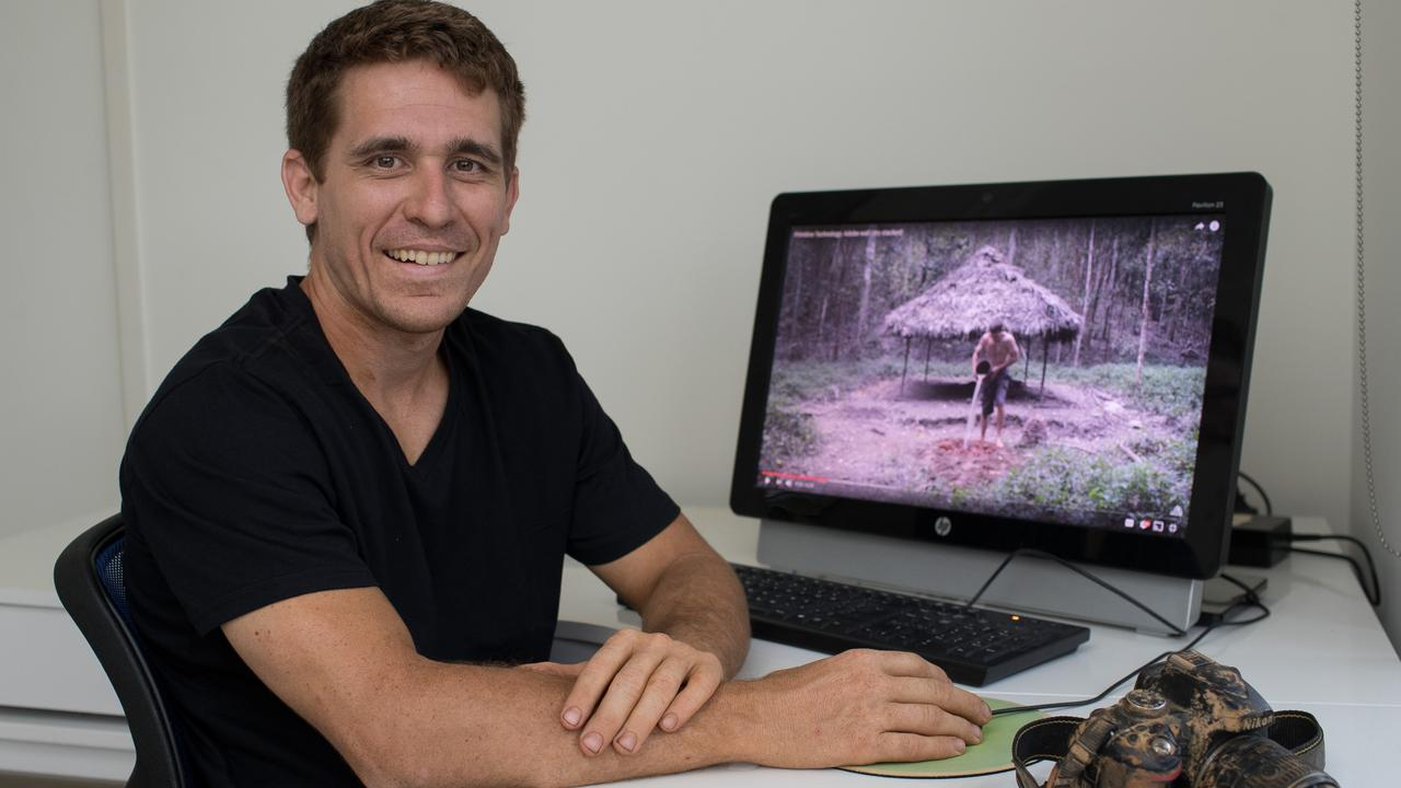 John Plant edits his videos at home where he lives with his parents in the suburbs of Cairns. Picture: Marc McCormack
