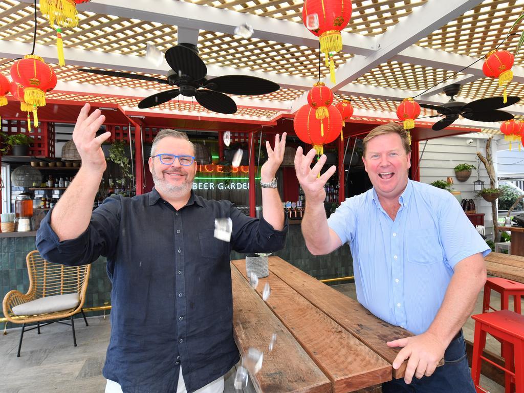 IT'S HERE: Tony Kelly and Dirk Long celebrate the new beer garden at Rice Boi, Mooloolaba. Photo: John McCutcheon / Sunshine Coast Daily