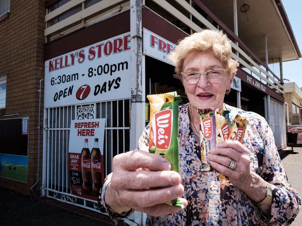 Pat Kelly reckons she's been selling Weis bars from Kelly's Corner Store in Centenary Heights since about 1972.