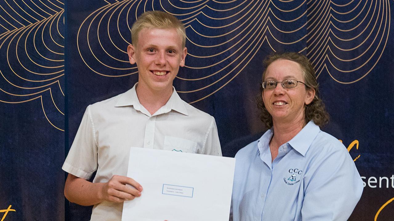 Enrichment Unit Award winner Justin O'Mara with Ms Tanya Bray.