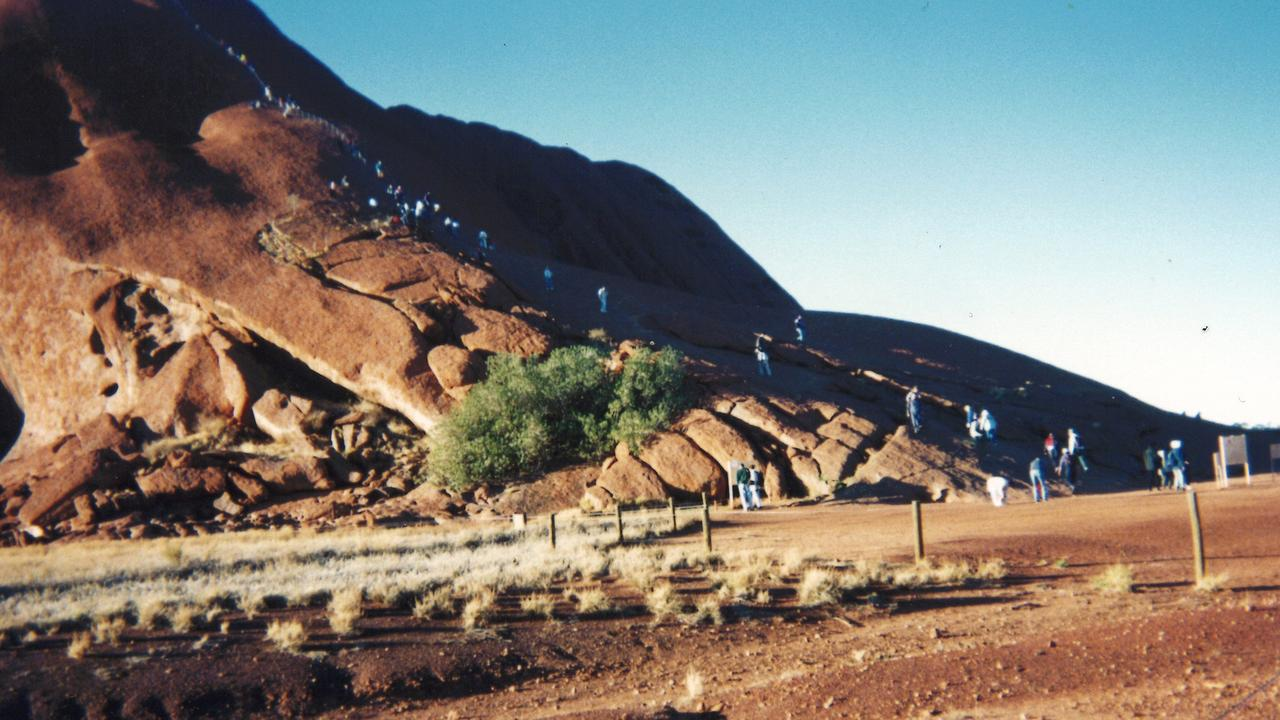 BANNED: Stanthorpe resident Mavis Bott shared this photo of people climbing Uluru back in 1996 Picture: Mavis Bott
