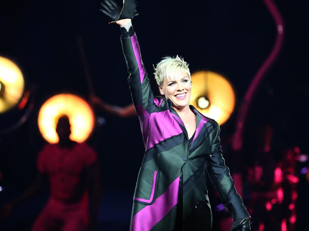 Pink on stage in Sydney last year. The singer has had a relentless touring schedule. Picture: Damian Shaw