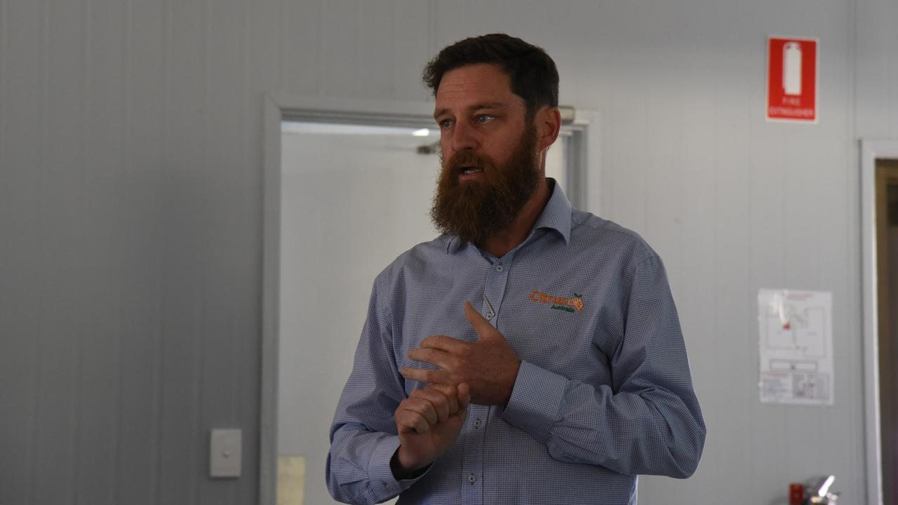 DAF ATTACK: Citrus Australia CEO Nathan Hancock at the Queensland Post-Season Regional Forum in Mundubbera on November 14. Photo: Alex Treacy
