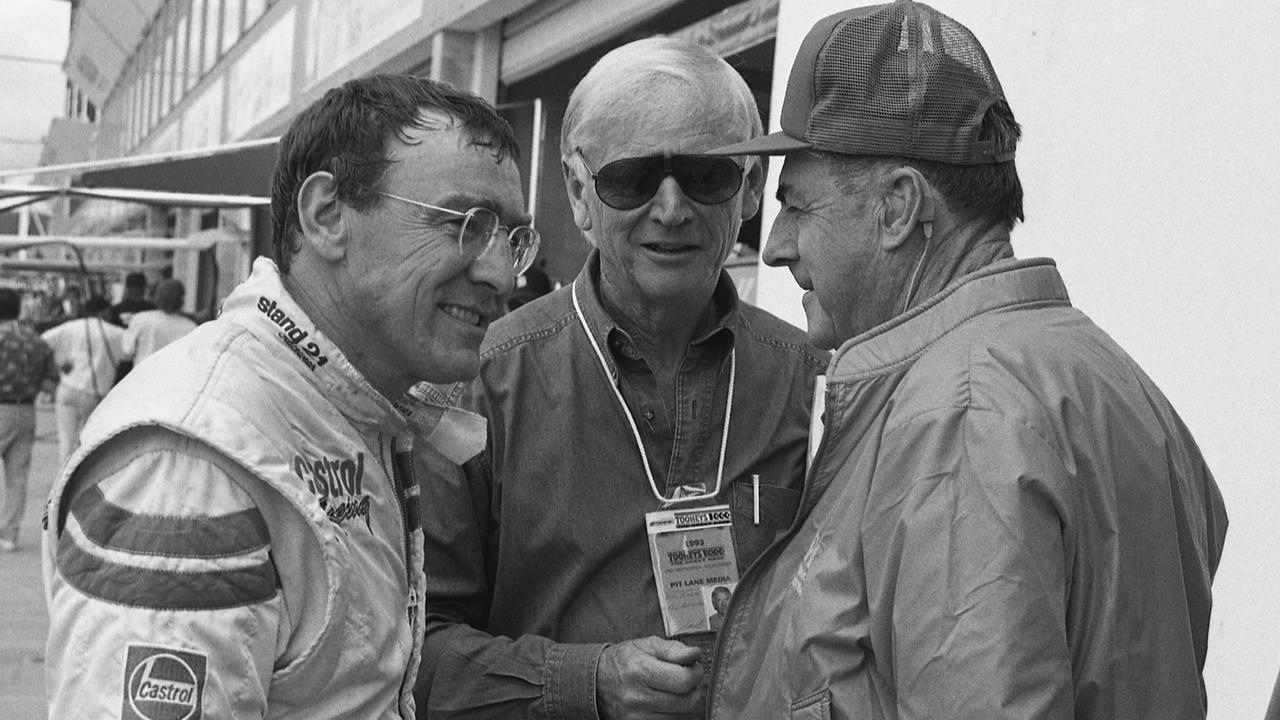 Historic Bathurst 1000 pic. Bathurst Legends. L to R: Driver, Larry Perkins, motor racing journalist Mike Kable and the Great Sir Jack Brabham. Supplied