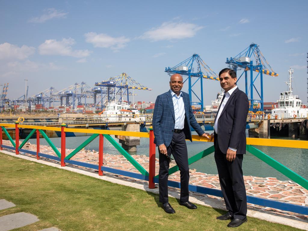 Adani global CEO Jeyakumar Janakaraj (left) and ports COO Avinash Rai at Adani's Mundra port. Picture: Cameron Laird