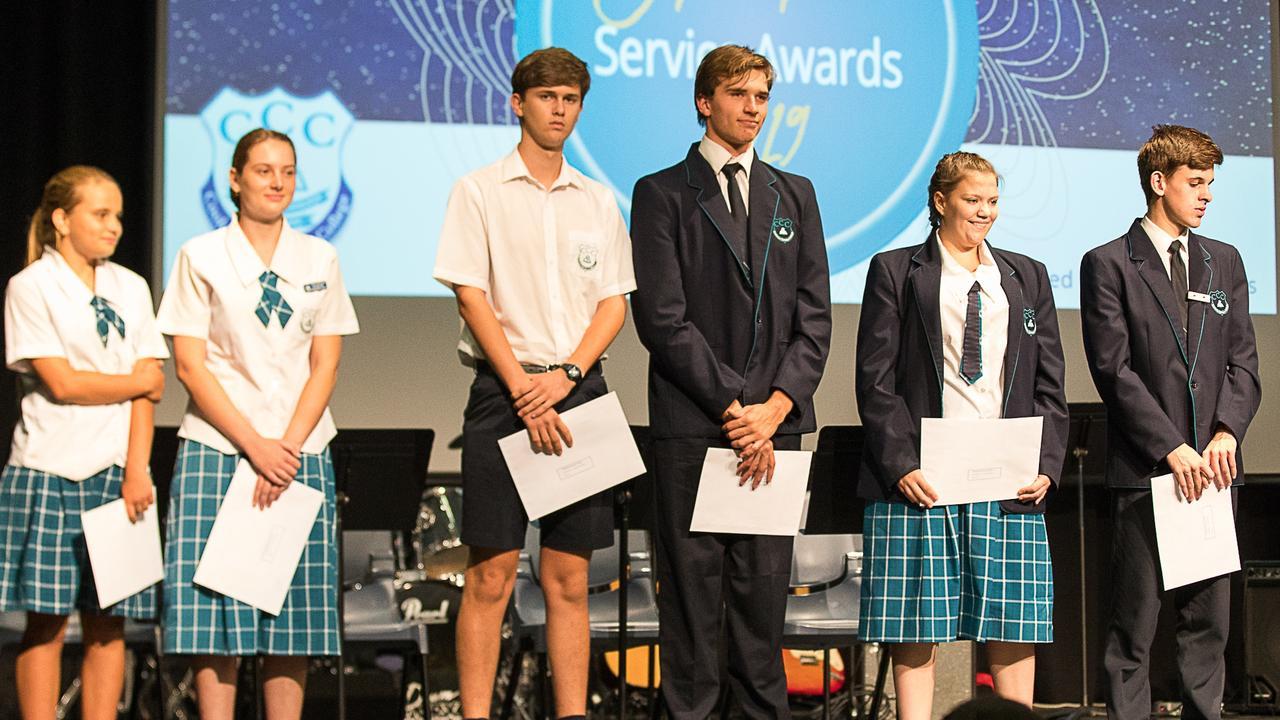Christian Character Awards were presented to (from left) Naomi Bradbury, Savannah Sutton, Lincoln Schroder, Mathias Martin, Jenna Melidonis and Noah Collins.