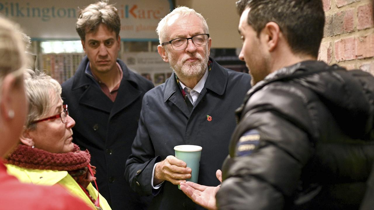 Labour Party leader Jeremy Corbyn and former Labour leader Ed Milliband (third left). Picture: Oli Scarff